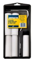 Harris Contractor Gloss Mini Roller Sleeves & Tray Set - 5 Pack - 4""